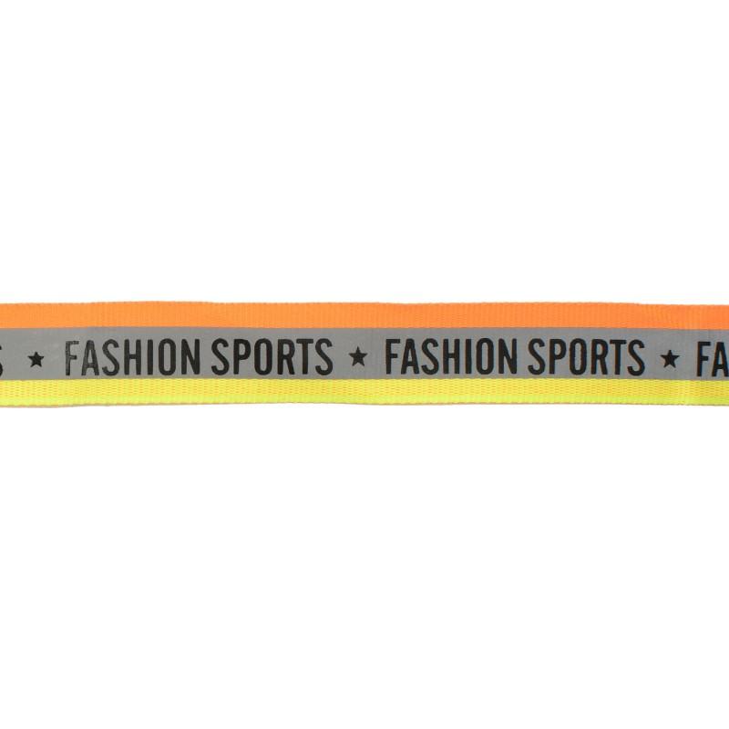 Тесьма светоотражающая репс двухцветная с принтом FASHION SPORT 2см 42-44м/рулон, цв:оранжевый неон/желтый