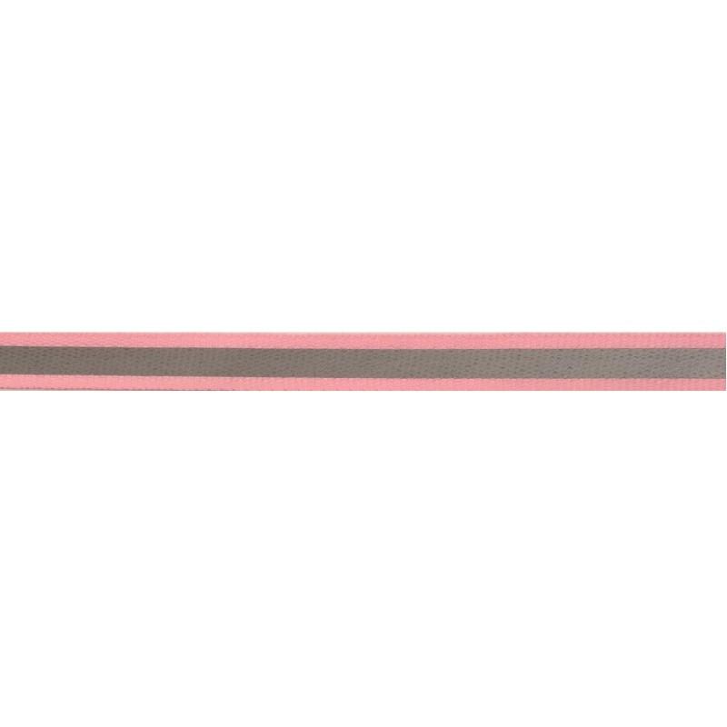 Тесьма светоотражающая репс 1см 42-44м/рулон, цв:розовый