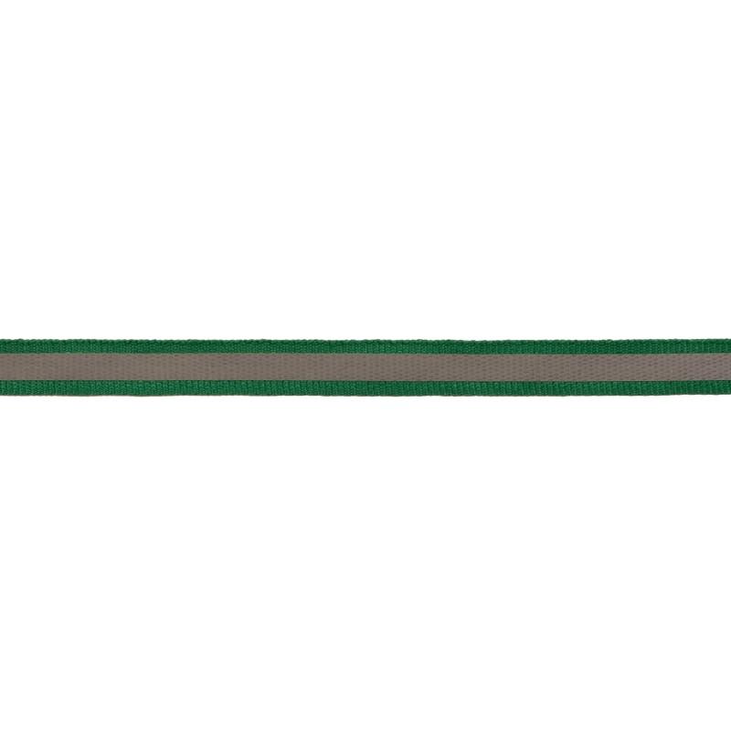 Тесьма светоотражающая репс 1см 42-44м/рулон, цв:изумрудный