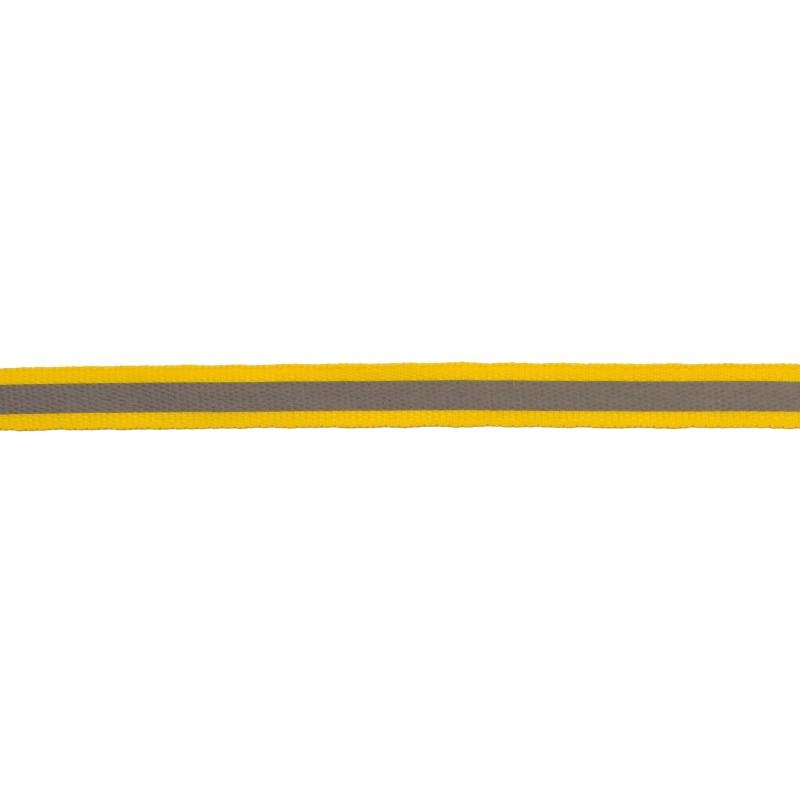 Тесьма светоотражающая репс 1см 42-44м/рулон, цв:желтый
