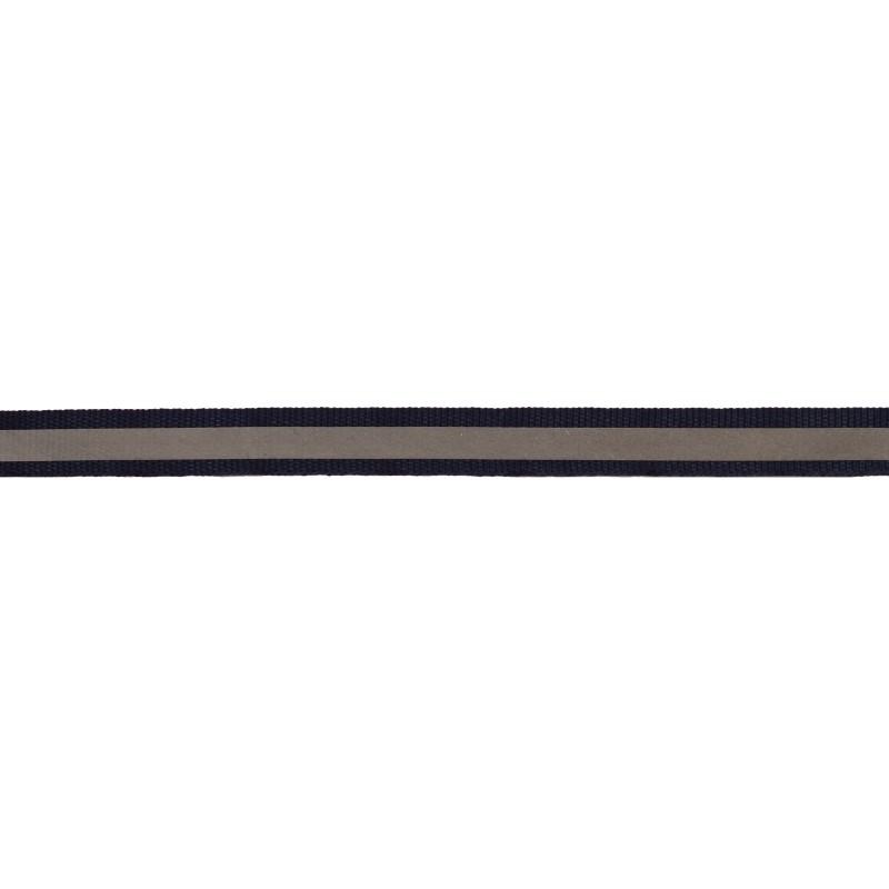 Тесьма светоотражающая репс 1см 42-44м/рулон, цв:синий
