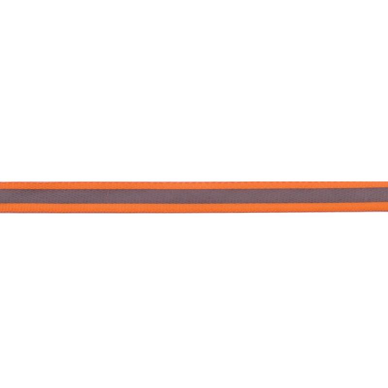 Тесьма светоотражающая репс 1см 42-44м/рулон,цв:оранжевый неон
