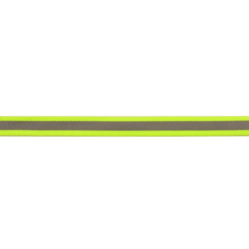 Тесьма светоотражающая репс 1см 42-44м/рулон,цв:салатовый неон