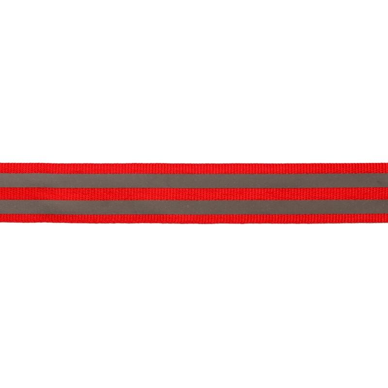 Тесьма светоотражающая репс 2см 43-44м/рулон,цв:красный