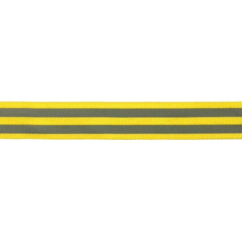 Тесьма светоотражающая репс 2,5см 43-44м/рулон,цв:желтый