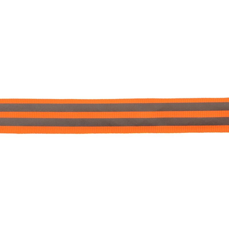 Тесьма светоотражающая репс 2см 43-44м/рулон,цв:оранжевый неон