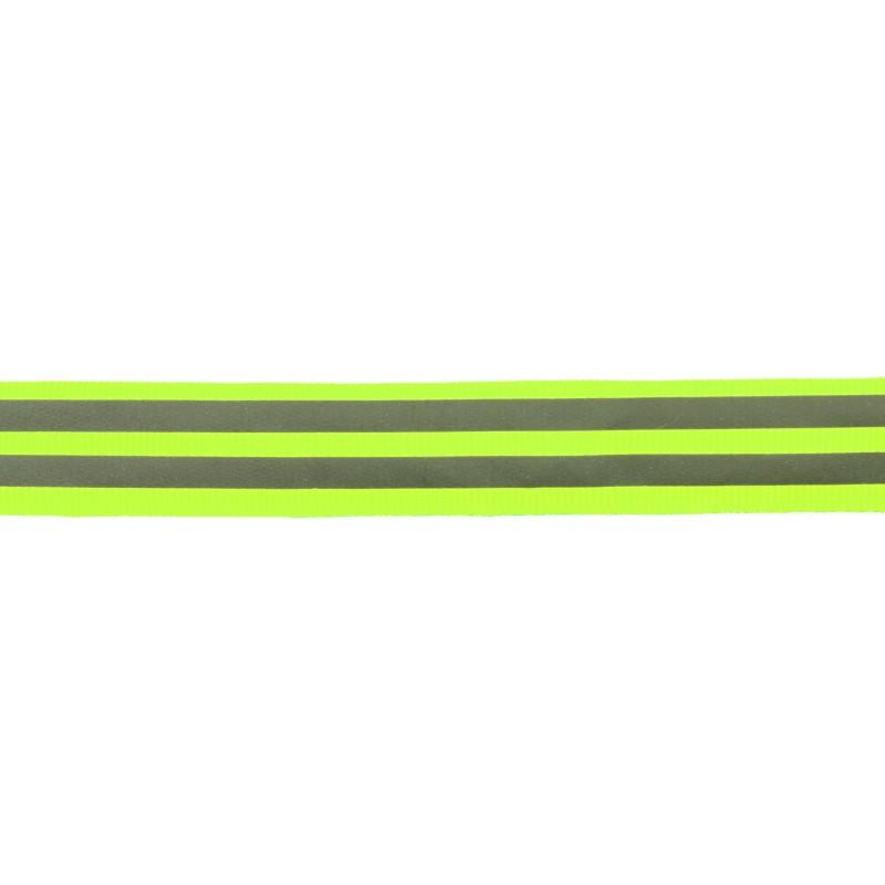 Тесьма светоотражающая репс 2см 43-44м/рулон,цв:салатовый неон