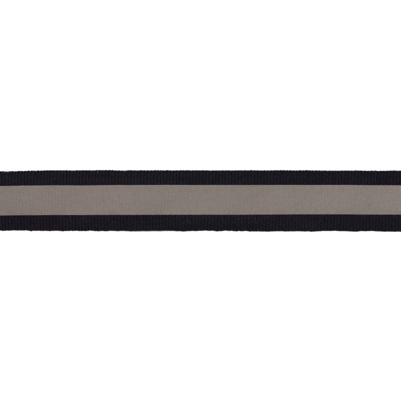 Тесьма светоотражающая репс 2см 42-44м/рулон, цв:т.синий