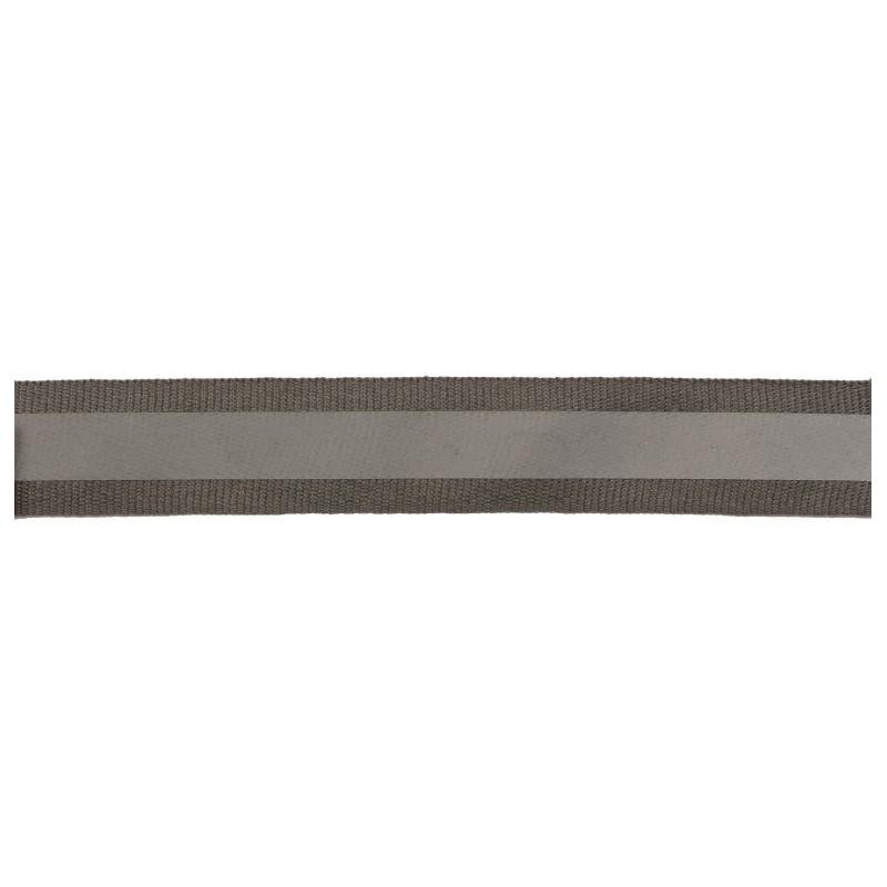 Тесьма светоотражающая репс 2см 42-44м/рулон, цв:св.серый