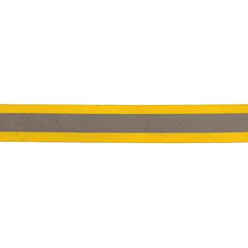 Тесьма светоотражающая репс 2см 42-44м/рулон, цв:желтый