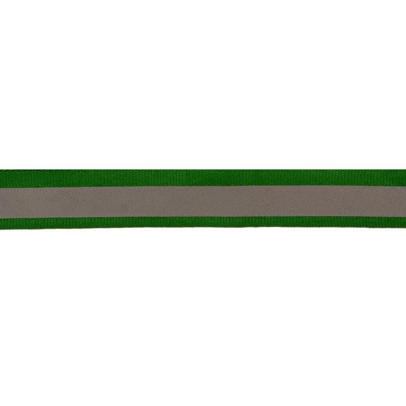 Тесьма светоотражающая репс 2см 42-44м/рулон, цв:зеленый