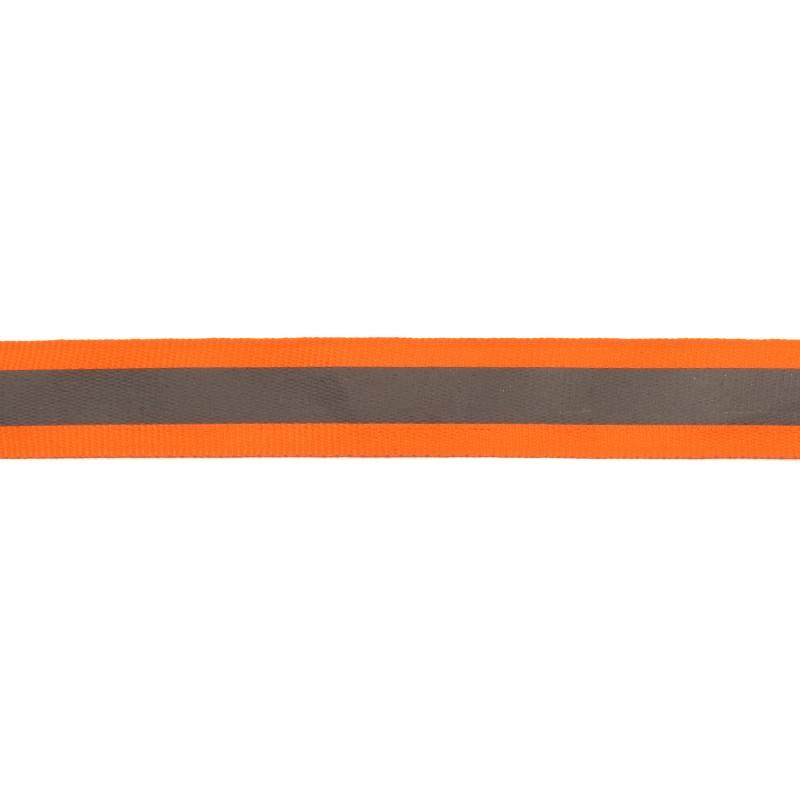 Тесьма светоотражающая репс 2см 42-44м/рулон, цв:оранжевый неон