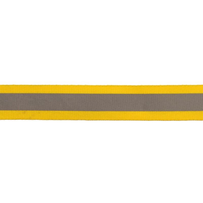 Тесьма светоотражающая репс 2,5см 42-44м/рулон, цв:желтый