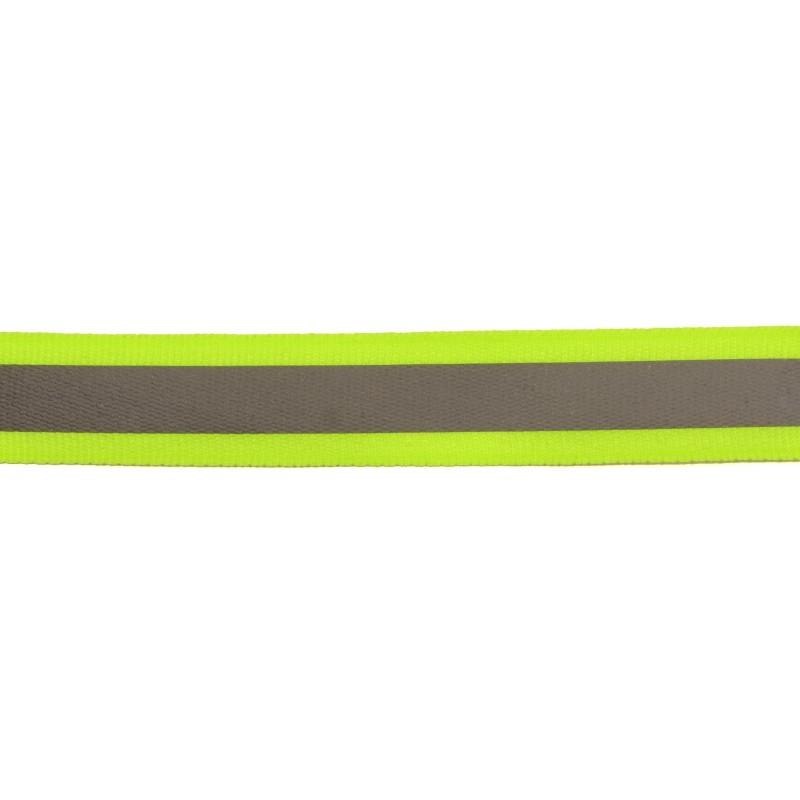 Тесьма светоотражающая репс 2,5см 42-44м/рулон, цв:салатовый неон