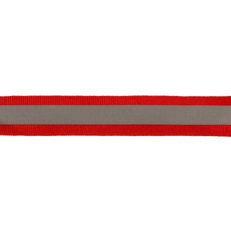 Тесьма светоотражающая репс 2,5см 42-44м/рулон , цв:красный