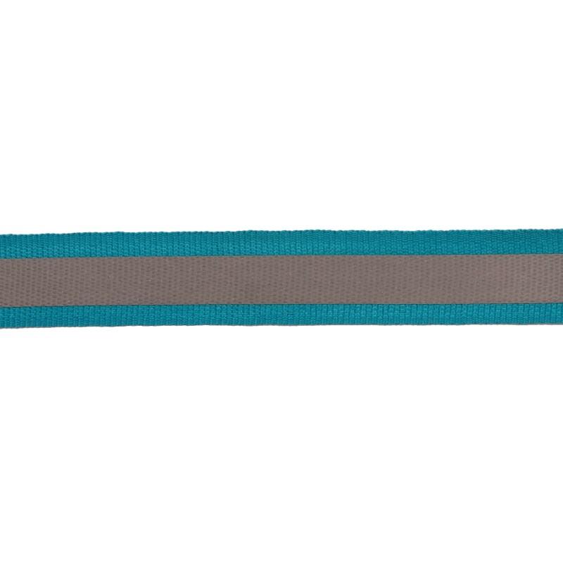 Тесьма светоотражающая репс 2,5см 42-44м/рулон, цв:бирюзовый