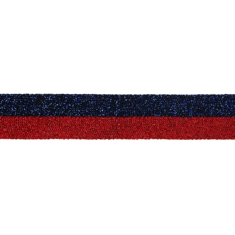Тесьма люрекс 2см 43-45м/рулон, цв:красный/синий