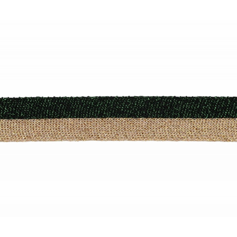 Тесьма люрекс 2см 43-45м/рулон, цв:зеленый/розовое золото