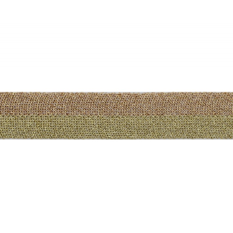 Тесьма люрекс 2см 43-45м/рулон, цв:золото/розовое золото