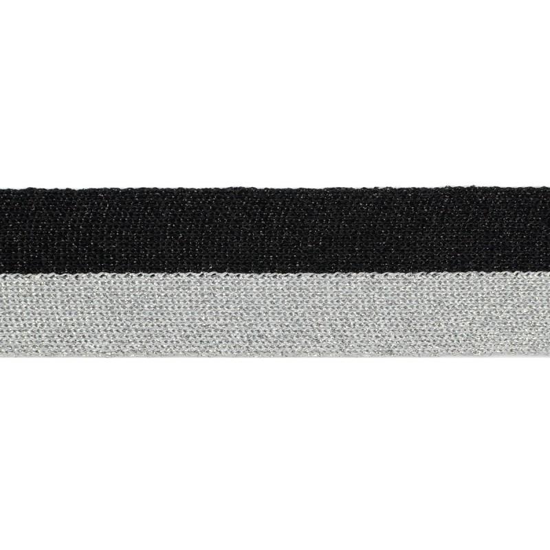 Тесьма люрекс 3см 43-45м/рулон, цв:черный/св.серебро