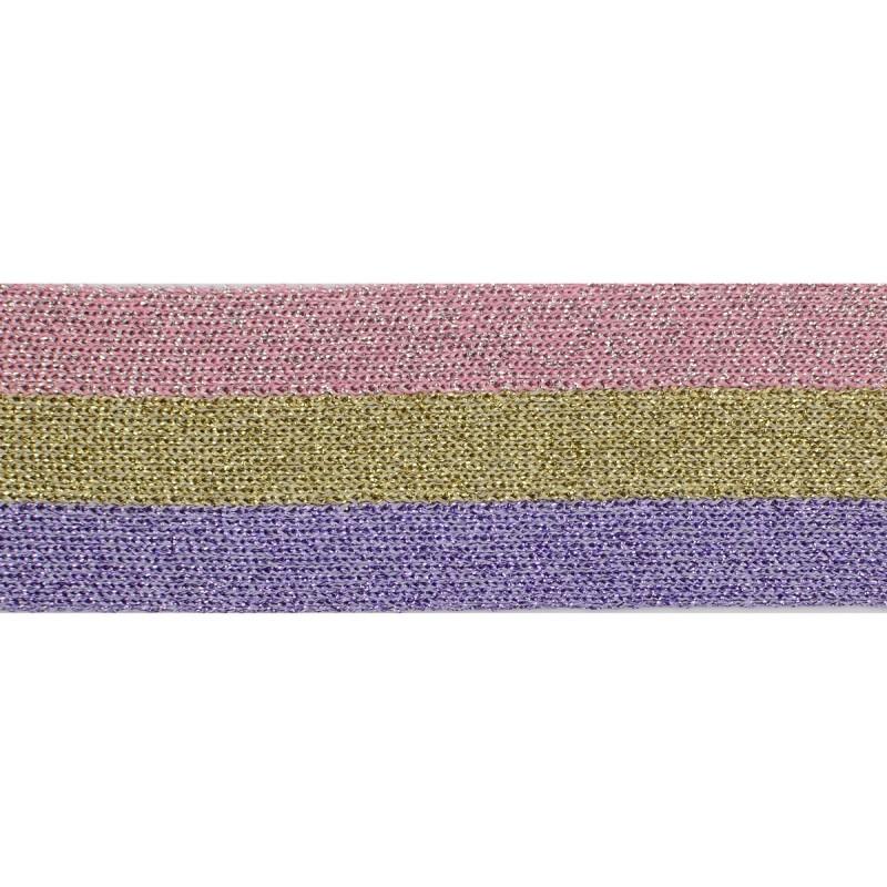 Тесьма люрекс 3,5см 43-45м/рулон, цв:розовый/золото/сиреневый