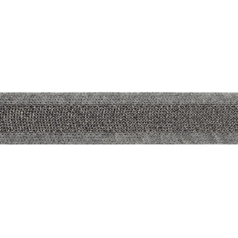 Тесьма хлопок/люрекс 2см 43-45м/рулон, цв:серый/т.серый