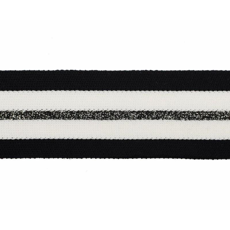 Тесьма хлопок/люрекс 3,5см 43-45м/рулон, цв:черный/графит/молочный
