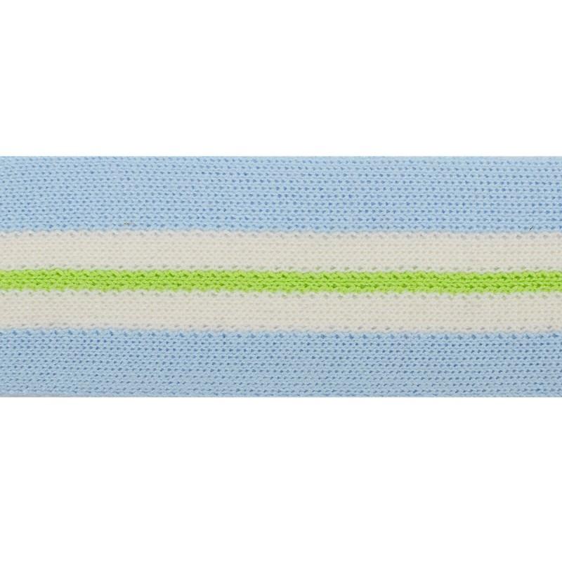 Тесьма хлопок 4см 43-45м/рулон ,цв:голубой/белый/ зеленый