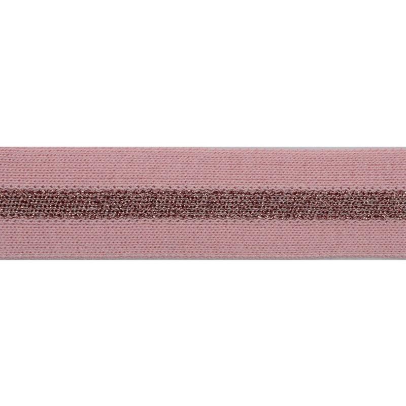 Тесьма хлопок 3см 43-45м/рулон, цв:розовый/люрекс розовый