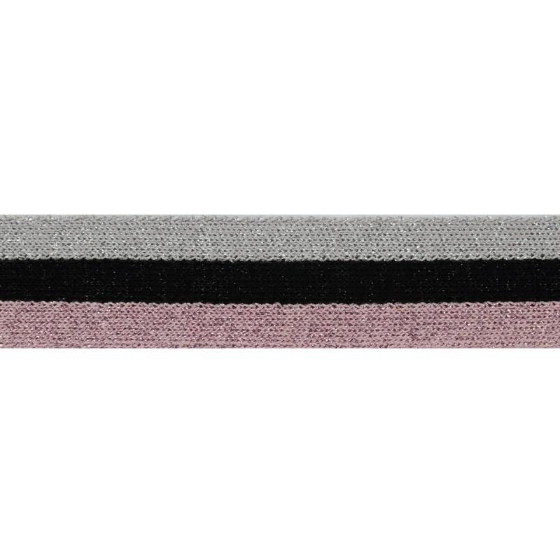 Тесьма хлопок 2,5см 43-45м/рулон, цв:св.серебро/черный/розовый/люрекс в цвет