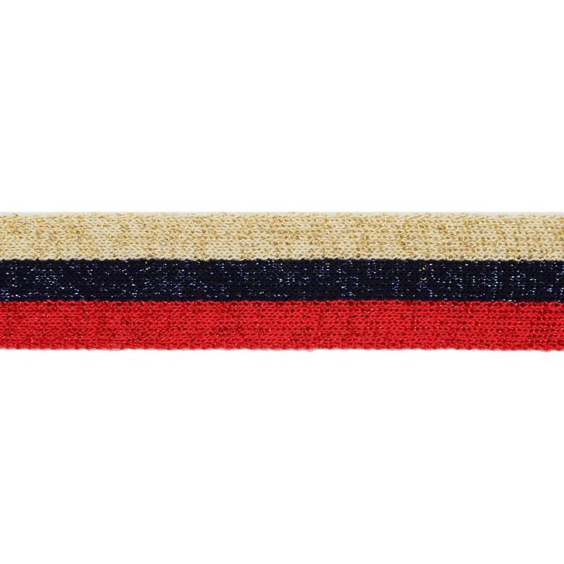 Тесьма хлопок 2,5см 43-45м/рулон, цв:бежевый/синий/красный/люрекс в цвет