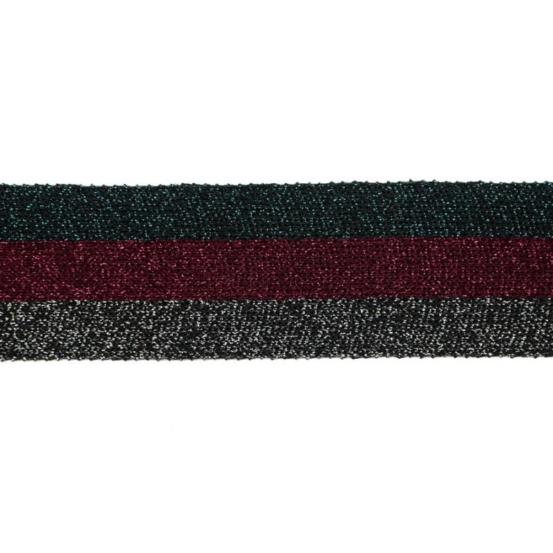 Тесьма люрекс 3,5см 43-45м/рулон, цв:изумрудный/бордовый/графит/люрекс в цвет