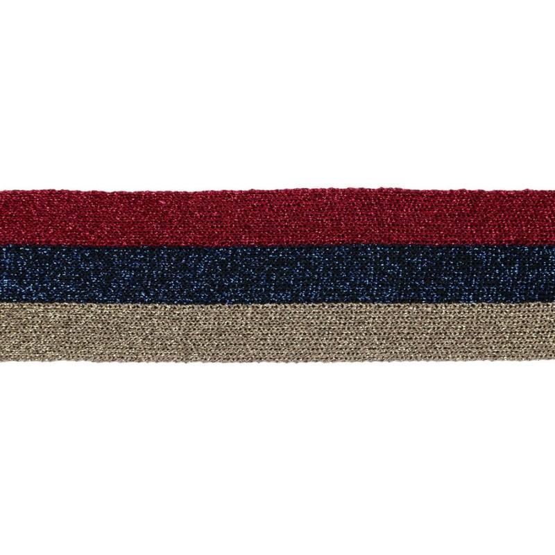 Тесьма люрекс 3,5см 43-45м/рулон, цв:бежевый/синий/красный/люрекс в цвет