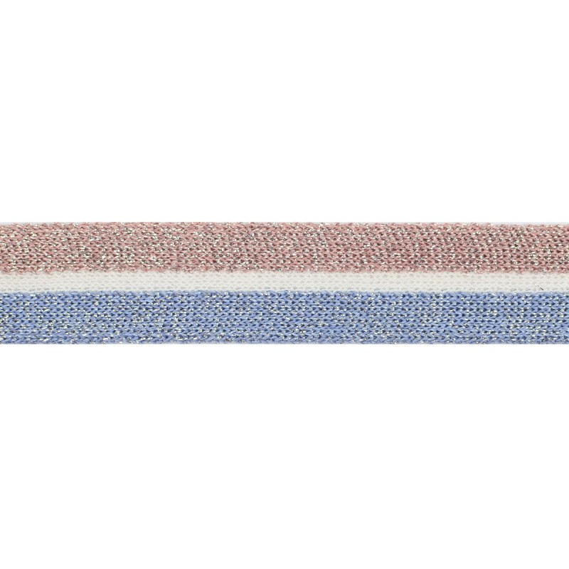 Тесьма хлопок/люрекс 2см 88-90м/рулон, цв:пудра/молочный/голубой