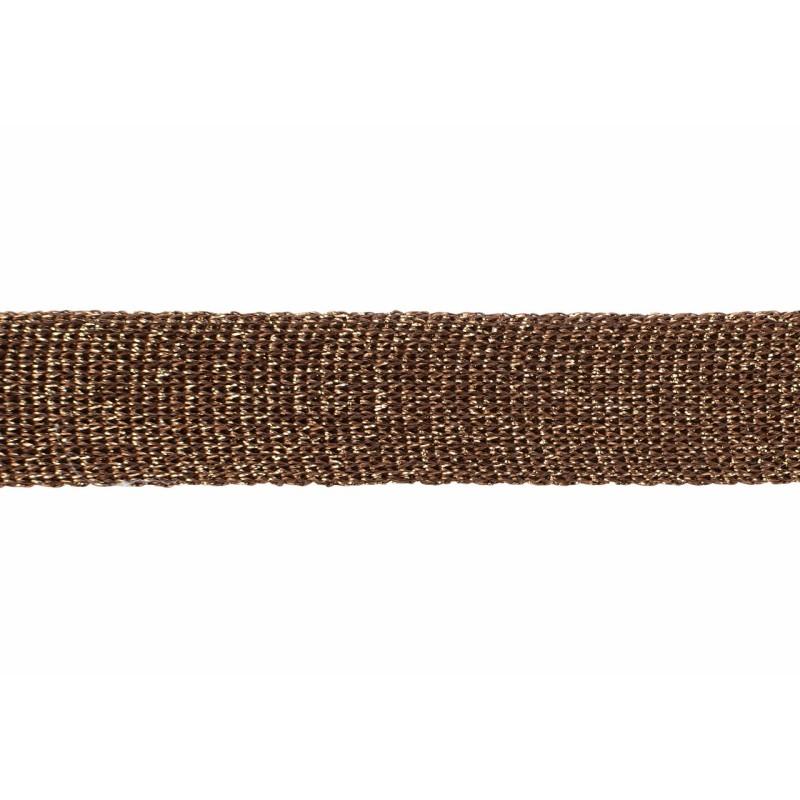 Тесьма люрекс 2см 88-90м/рулон, цв:коричневый
