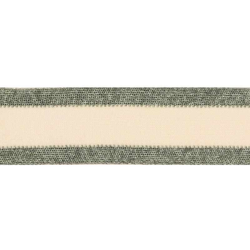 Тесьма хлопок/нейлон/люрекс 4см 43-45м/рулон, цв:мятный/белый/люрекс серебро