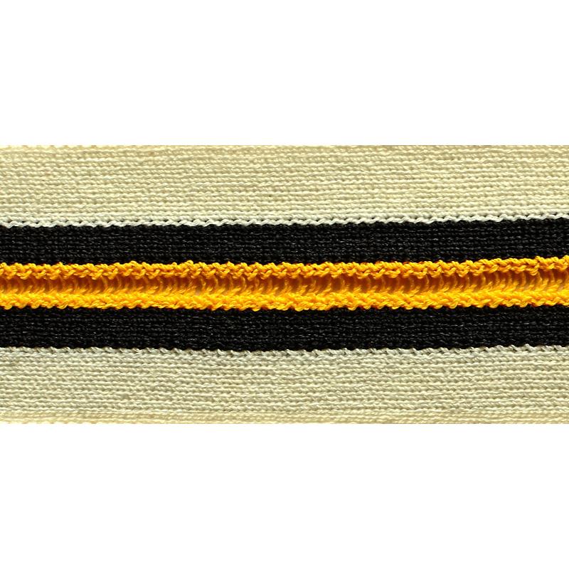 Тесьма с бахромой хлопок/нейлон 3,5см 43-45м/рулон, цв:белый/желтый/черный
