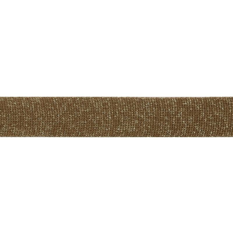 Тесьма люрекс 2,5см 43-45м/рулон, цв:какао/люрекс серебро