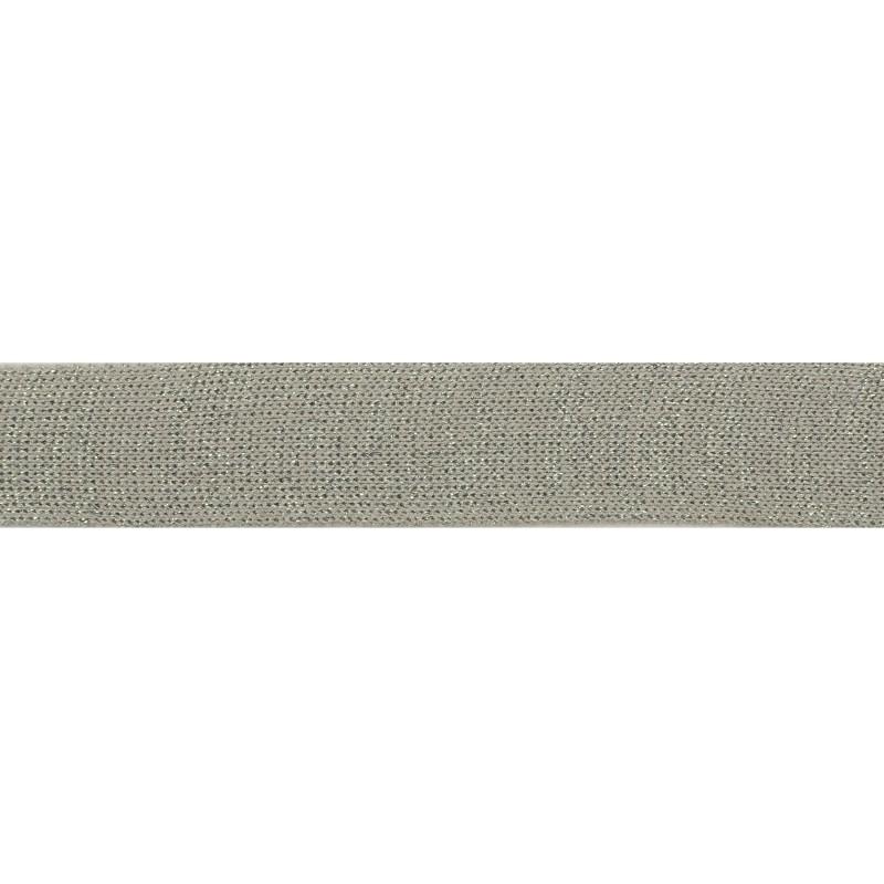 Тесьма люрекс 3 см 43-45м/рулон, цв:серый/люрекс серебро