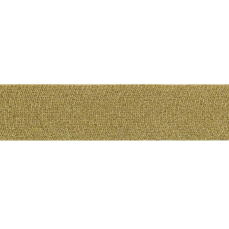 Тесьма люрекс 4 см 43-45м/рулон, цв:бежевый/люрекс золото
