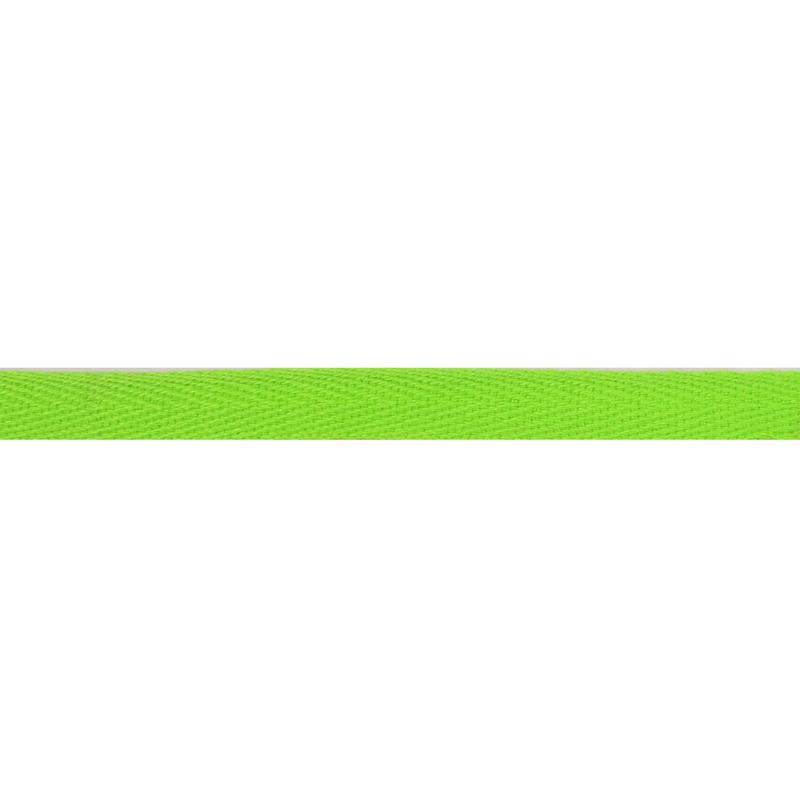 Тесьма киперная хлопок 1см 68-70м/рулон,цв: салатовый неон