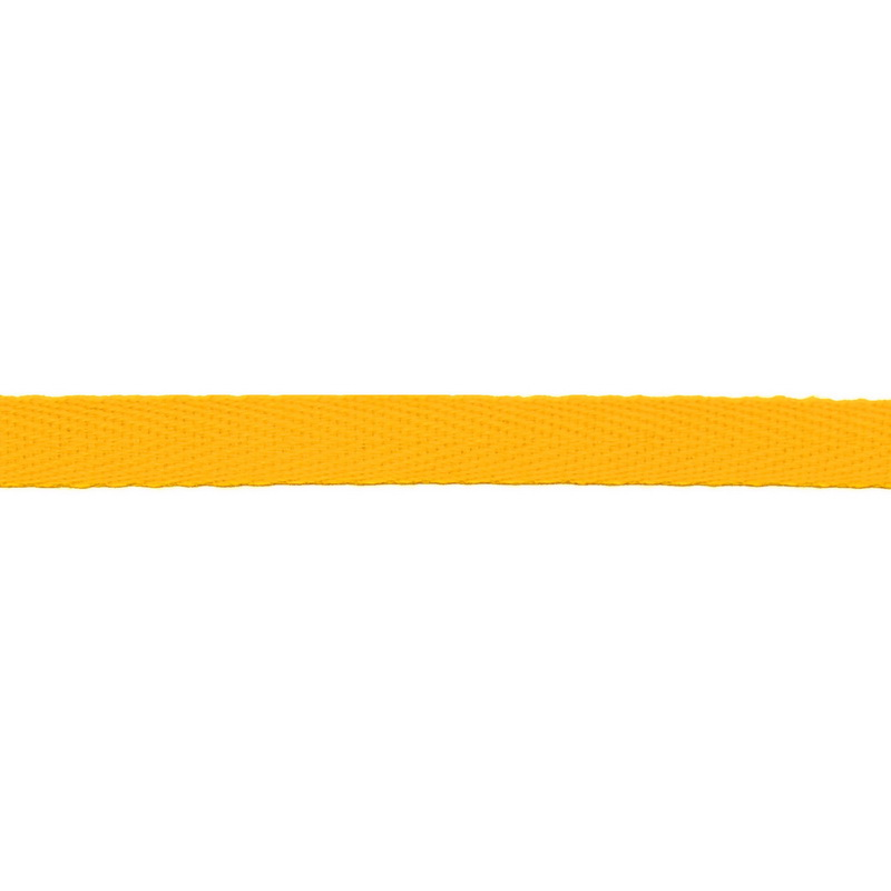 Тесьма киперная хлопок 1см 68-70м/рулон,цв:ярко-желтый