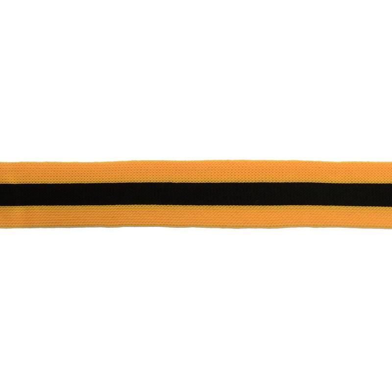Тесьма трикотажная полиэстер 2,5см 68-70м/рулон, цв:оранжевый/черный