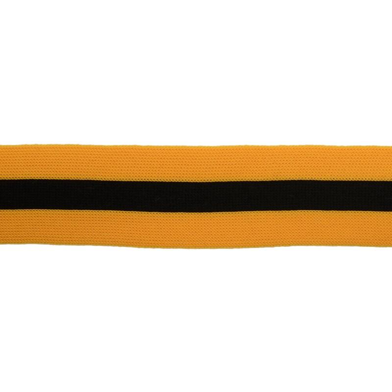 Тесьма трикотажная полиэстер 3,5см 68-70м/рулон, цв:оранжевый/черный