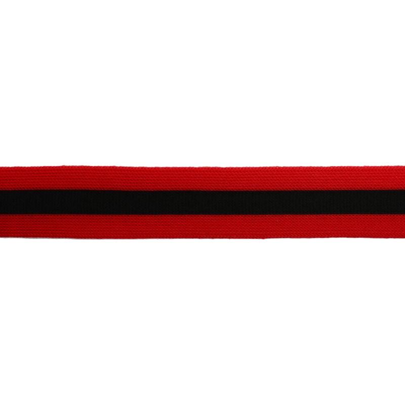 Тесьма трикотажная полиэстер 2,5см 68-70м/рулон,цв:красный/черный