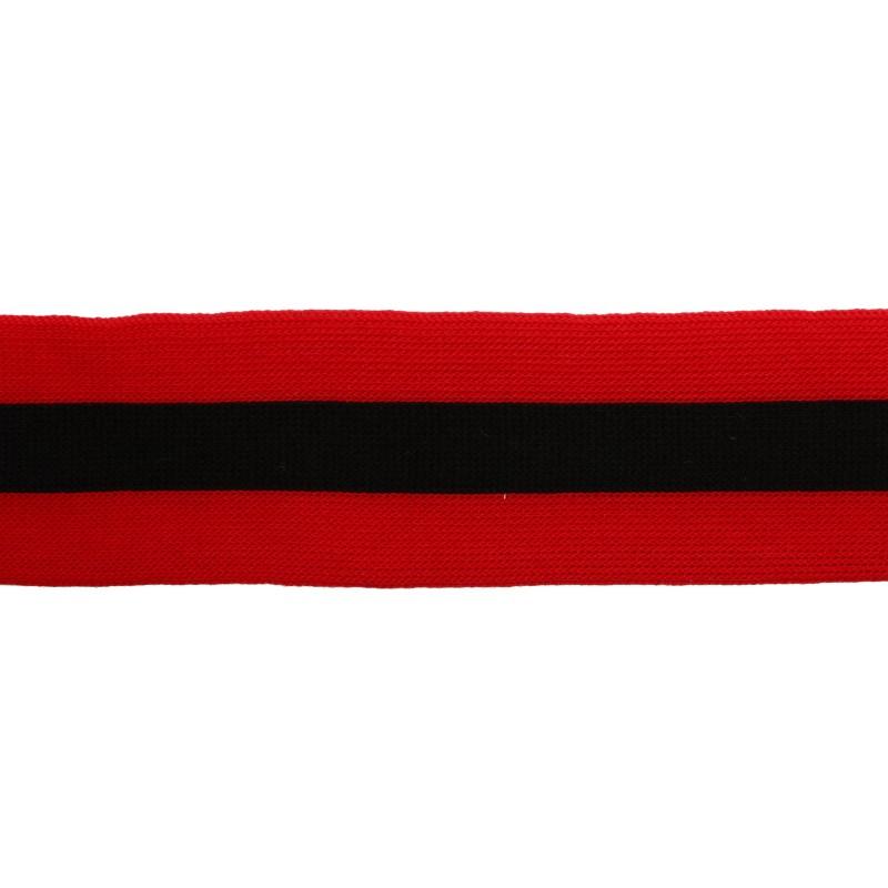 Тесьма трикотажная полиэстер 4см 68-70м/рулон,цв:красный/черный