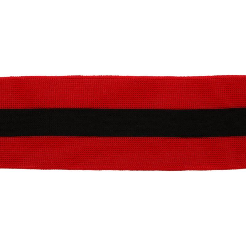 Тесьма трикотажная полиэстер 5см 68-70м/рулон,цв:красный/черный