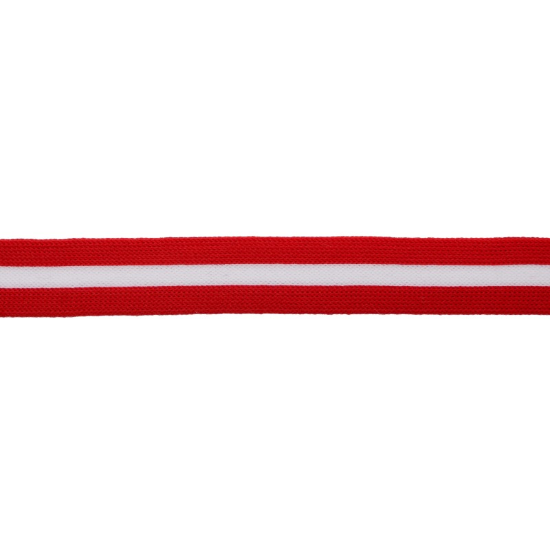 Тесьма трикотажная полиэстер 2см 68-70м/рулон,цв:красный/белый