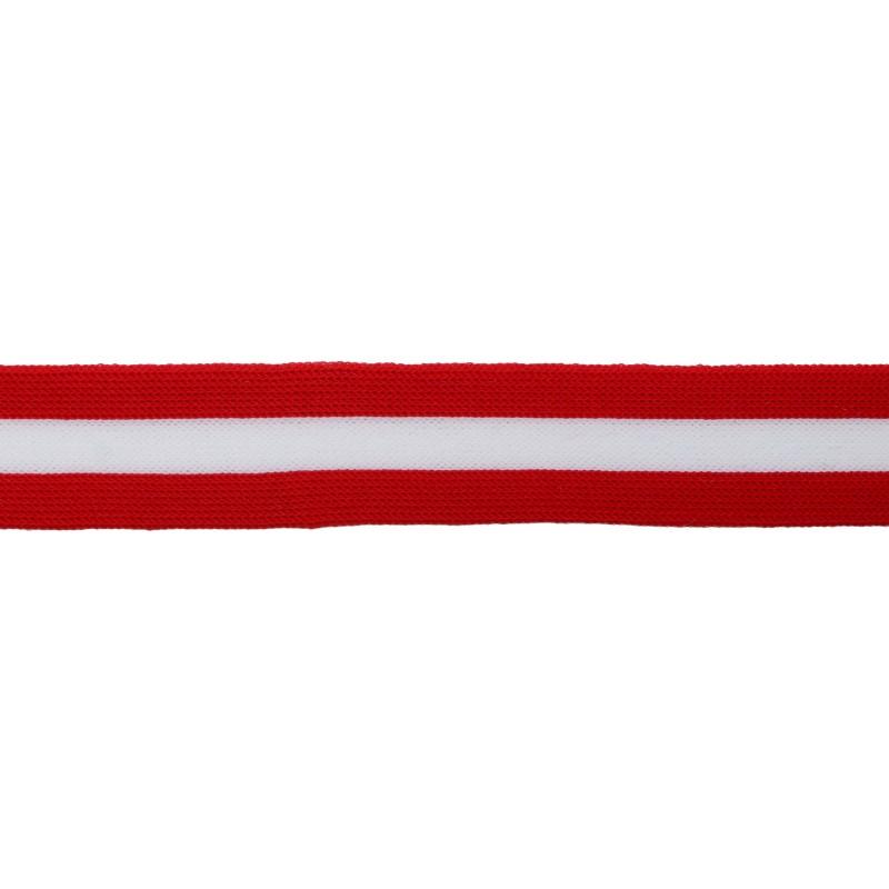 Тесьма трикотажная полиэстер 2,5см 68-70м/рулон,цв:красный/белый