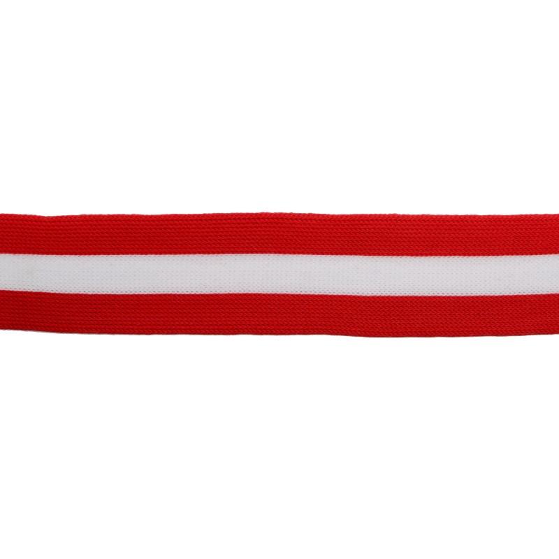Тесьма трикотажная полиэстер 3см 68-70м/рулон,цв:красный/белый